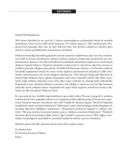 EDİTÖRDEN - JournalAgent