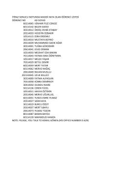 itiraz sonucu notunda maddi hata olan öğrenci listesi öğrenci no ad