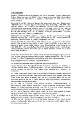 GÜLSÜM AZERİ Boğazici Üniversitesi Kimya Muhendisliği