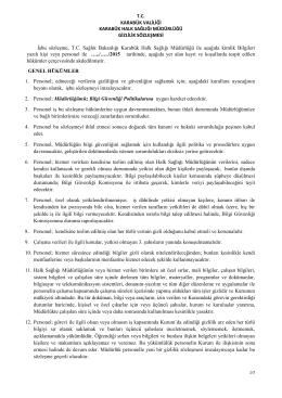 T.C. KARABÜK VALİLİĞİ KARABÜK HALK SAĞLIĞI MÜDÜRLÜĞÜ