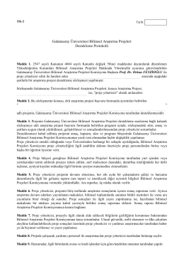 BAP Destekleme Protokolü - Galatasaray Üniversitesi