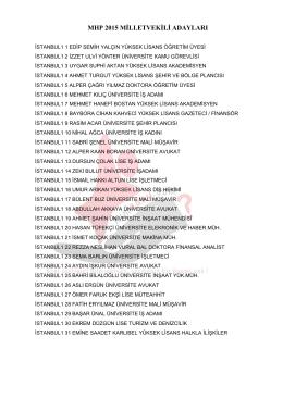 MHP 2015 MİLLETVEKİLİ ADAYLARI