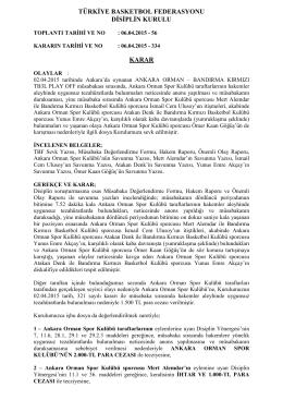 karar 334 ankara orman - Türkiye Basketbol Federasyonu