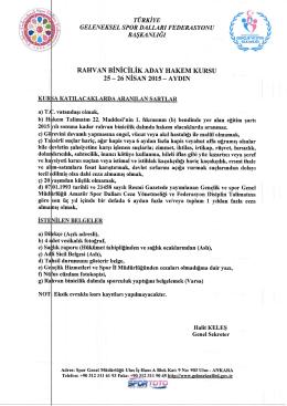 rahvan binicilik aday hakem kursu 25–26 nisan 2015 – aydın