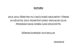2014-2015 ÖĞRETİM YILI MEZUNİYET TÖRENİ