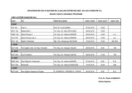 Orta Öğretim Fen ve Matematik Bölümü Ara Sınav Takvimi