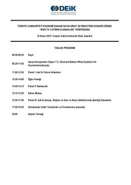 Irak`ta Yatırım Olanakları Konferansı