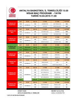 13-20 Nisan Maç Programı - Antalya Gençlik ve Spor İl Müdürlüğü