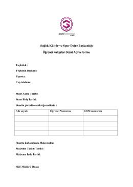 Öğrenci Kulüpleri İçin Stant Açma Formu