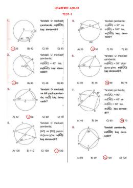 çemberde açılar konu testi cevapları