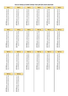 fen ve teknoloji dersi yaprak testleri için cevap anahtarı 1. a 2. b 3. d