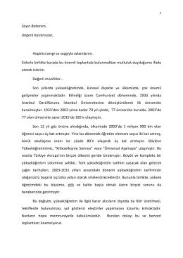 Yükseköğretim Kurulu Başkanı Prof. Dr. M. A. Yekta Saraç