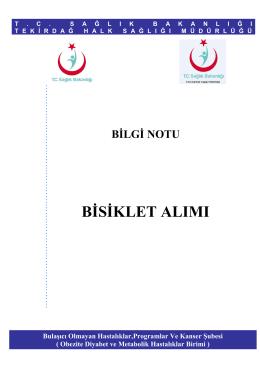 BİLGİ NOTU BİSİKLET ALIMI - Tekirdağ Halk Sağlığı Müdürlüğü