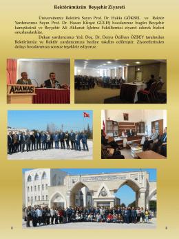 Rektörümüzün Beyşehir Ziyareti