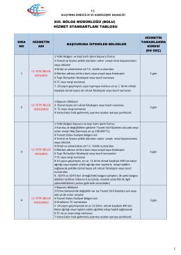 XIII Bölge Müdürlüğü (Bolu) Hizmet Standartları Tablosu