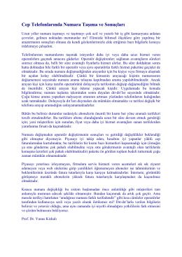 Cep Telefonlarında Numara Taşıma ve Sonuçları