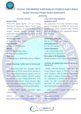 UÜYÖS Başvuruları 24 Nisan 2015 Tarihinde Başlıyor