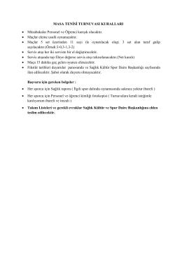 Masa Tenisi Kuralları 2015