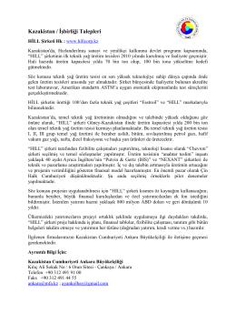 Kazakistan / İşbirliği Talepleri