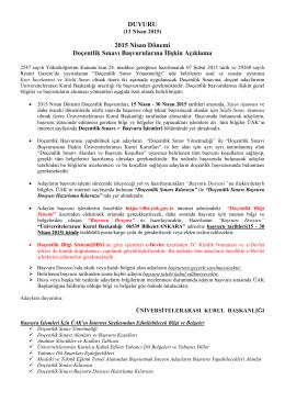 DUYURU 2015 Nisan Dönemi Doçentlik Sınavı Başvurularına İlişkin
