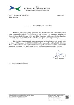Resmi Yazı ve Katılım Formu - Marmara Belediyeler Birliği