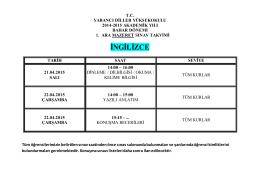 21-22 nisan 2015 mazeret sınav takvimi