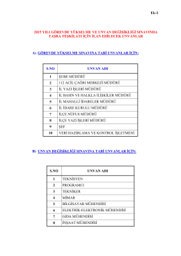 Ek-2 2015 YILI GÖREVDE YÜKSELME VE UNVAN DEĞİŞİKLİĞİ