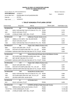 14.04.2015 ihale teklif listesi - Makina ve Kimya Endüstrisi Kurumu