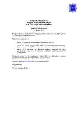 Türkiye Bankalar Birliği Bireysel Müşteri Hakem Heyeti 2014 Yılı
