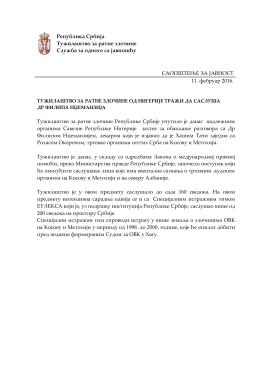 Република Србија Тужилаштво за ратне злочине Служба за