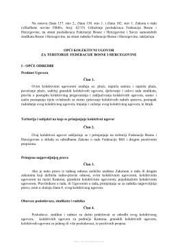Opći kolektivni ugovor za teritoriju Federacije BiH
