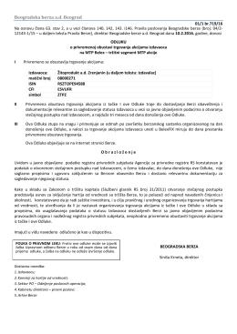 dokument - Beogradska berza