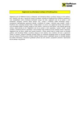 Saglasnost za pribavljanje izveštaja od Kreditnog biroa