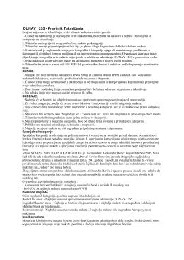 DUNAV 1255 - Pravilnik Takmičenja