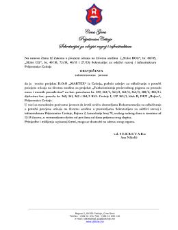 Crna Gora PrijestonicaCetinje Sekretarijat za odrzivi razvoj i