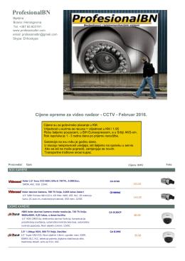 Cjenovnik analogne CCTV opreme