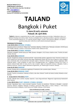 BANGKOK i PUKET 28.04 - Turistička agencija Big Blue