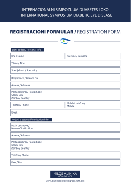 Registracionog formulara - International symposium | Diabetic eye