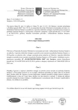 KANTON SARAJEVO Ministarstvo komunalne privrede i