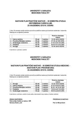 univerzitet u sarajevu medicinski fakultet nastavni plan praktične