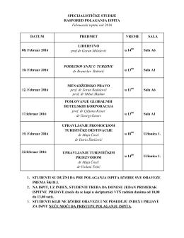 Raspored polaganja ispita za specijalističke studije JANUAR 2016