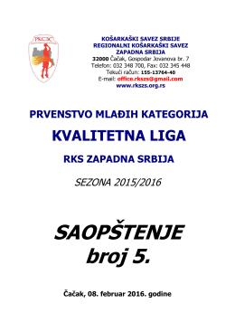 SAOPŠTENJE broj 5. - regionalni kosarkaski savez zapadna srbija
