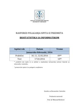 raspored polaganja ispita iz predmeta biostatistika sa informatikom