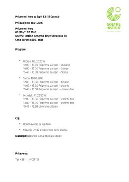 Pripremni kurs za ispit B2 (15 časova) Prijava je od 19.01.2016