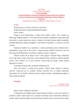homilija biskupa šaška - Blaženi Alojzije Stepinac