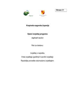 Krapinsko-zagorska županija Opisni izvještaj programa (upisati