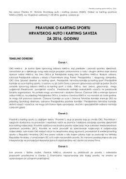 pravilnik o karting sportu hrvatskog auto i karting saveza za 2016
