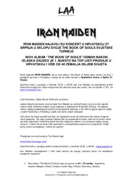 iron maiden najavili su koncert u hrvatskoj 27. srpnja u sklopu svoje