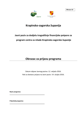 Krapinsko-zagorska županija Obrazac za prijavu programa