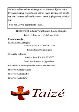 Taize 2016 - Ured HBK za mlade